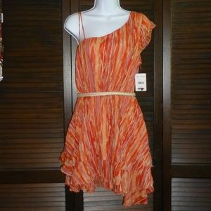 Free People Orange Striped Ruffled Dress, M, NWT